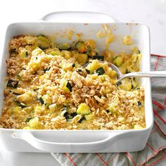 Zucchini & Cheese Casserole Recipe -My daughter and I love zucchini, and this casserole uses plenty for a hearty fall side dish. For extra color, I add fresh diced tomatoes. Turkey Casserole, Zucchini Casserole, Casserole Recipes, Rice Casserole, Zucchini Gratin, Stuffing Casserole, Food Dishes, Side Dishes, Zucchini Cheese
