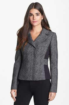 "Lines & lapels are really nice here. ""Classiques Entier® Leopard Jacquard & Ponte Jacket available at #Nordstrom """