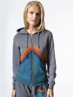 All Seasons Zip Hoodie Sweatshirts in Vintage Grey by Aviator Nation from Carbon38
