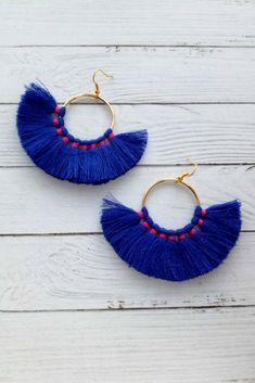 Hoop tassel earrings Dark blue fan tassels Fringe cotton 18K Gold hooks Dangle earrings Bright summer boho tassel Royal blue fluffy thread $21.00 #bohoearrings #bohochic #bohostyle #hooptasselsearrings #darkblueearrings #fantasselsearrings #summerearrings #royalblueearrings