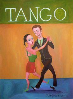 tango canyengue c, pinturas de Diego Manuel. Sale of a painting of the Argentine Tango. Venta de una pintura sobre el tango Argentino