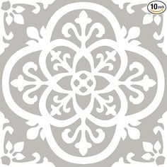 With light grey and white hues, these floor tiles have a chic farmhouse style. Their intricate ironwork design has a gothic flair. Medina Peel & Stick Floor Tiles contains 10 pieces on 10 sheets that measure 12 x 12 inches. Peel And Stick Floor, Peel And Stick Vinyl, Vinyl Tile Flooring, Bathroom Flooring, Kitchen Flooring, Wood Tiles, Tile Decals, Cement Tiles, Concrete Floors