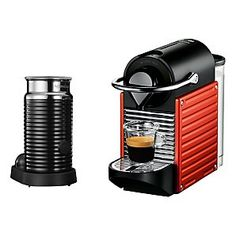 Krups Nespresso 'Pixie' coffee machine and Aeroccino in Red - For kitchen accessories check out kitchware the homeware online boutique Cappuccino Maker, Cappuccino Coffee, Cappuccino Machine, Coffee Machine, Espresso At Home, Italian Espresso, Pixie, Nespresso Machine, Premium Coffee