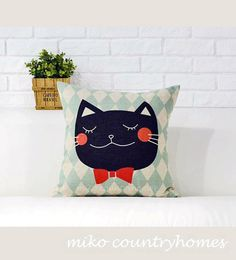 "$15 | Kitty Cat | Decorative Throw Pillow Cover | 45x45cm 18""x18"" #homedecor #nurserydecor #throwpillows #pillowcover #catpillow #kitty #cat #catlover"