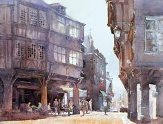Watercolor artwork by Michal Orlowski (micorl). Watercolor Architecture, Urban Architecture, Watercolor Landscape, Watercolor Artwork, Watercolor Flowers, Deviantart, Artist Art, Painting Techniques, Illustration