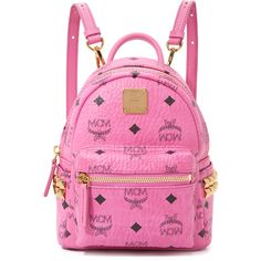 MCM Side Stud Baby Backpack ($675) ❤ liked on Polyvore featuring bags, backpacks, pink, mcm, mcm backpack, studded backpack, mcm bags and rucksack bag