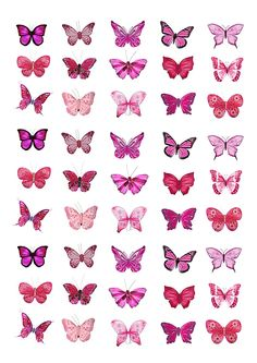 Pink Butterflies Edible Cake Toppers (Birthday Cupcake Topper by eShack) Edible Cake Toppers, Birthday Cake Toppers, Birthday Cupcakes, Cupcake Toppers, Papillon Rose, Butterfly Baby Shower, Butterfly Birthday, Butterfly Drawing, Butterfly Images
