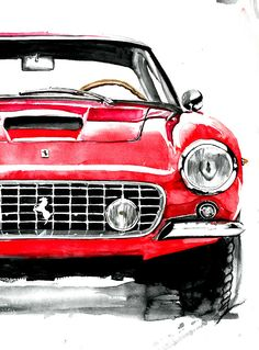 car painting automotive watercolor paintings on Behance Cool Car Drawings, Art Drawings, Watercolor Cards, Watercolor Paintings, Automotive Art, Automotive Solutions, Car Illustration, Palette Knife Painting, Poster