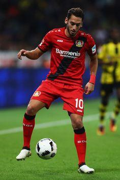 Hakan Calhanoglu of Bayer 04 Leverkusen in action during the Bundesliga match between Bayer 04 Leverkusen and Borussia Dortmund at BayArena on October 1, 2016 in Leverkusen, Germany.