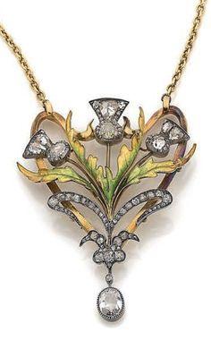 Maison Caillot-Peck, Frères Guillemin - An Art Nouveau gold, silver, enamel and diamond pendant, Paris, circa 1900. Designed as a bouquet of thistles. #GoldJewelleryArtNouveau