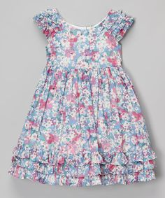 Look at this Laura Ashley London Pink & Blue Floral Ruffle Cap-Sleeve Dress - Toddler & Girls on #zulily today!