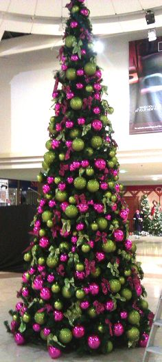 Lime Green And Pink Christmas Tree Ornaments Decorations