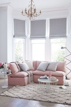 pink sofas how much is a sofa bed 16 chic blush to style them the things we love 25 ideas bay and bow window simple elegant look