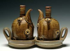 Todd Wahlstrom, Oil and Vinegar Set, stoneware, porcelain sprigs, 9