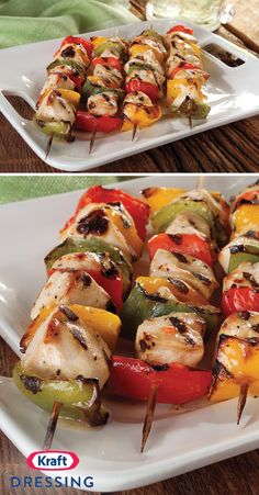 Chicken Kabobs on the Grill – Unite a trio of colorful peppers with marinated chicken for this grilled recipe. Marinate & baste these chicken kabobs with Italian dressing for an easy yet flavorful dis (Marinated Italian Chicken) Italian Dressing Marinade, Italian Dressing Chicken, Italian Chicken, Vegetable Skewers, Veggie Kabobs, Kraft Foods, Kraft Recipes, Antipasto, Chicken Cabobs