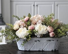 French Country/Cottage Decor, Shabby Chic Centerpiece, Peonies and Hydrangeas in a White Distressed Metal Pail