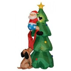 bzb goods 6 christmas inflatable santa claus climbing on christmas tree dog decorations outdoor