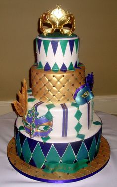 green and purple sweet 16 masquerade cakes - Google Search