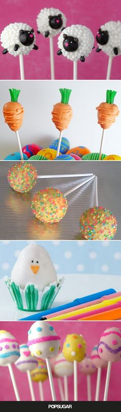 Need a little inspiration for the best Easter-basket sweets? We found 16 clever cake pops ideas that will have you ready to hop on over to the kitchen and get Easter Cake Pops, Easter Egg Cake, 16 Cake, Cupcake Cakes, Desserts Ostern, Easter Desserts, Easter Treats, Easter Recipes, Yellow Cake Pops