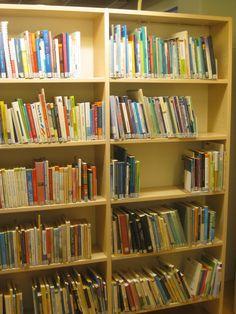 Osassa hyllyjä kirjoja oli todella paljon eikä mitään ollut tai mahtunut olemaan esillä.