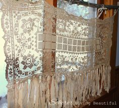 Vintage Chic Hippie Valance Boho Upcycled Lace Doily Curtain Shabby Cream Tassel Rag Gypsy Window Treatment