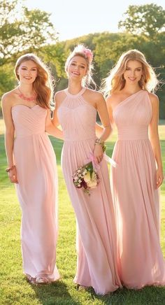 A Line Long Chiffon Pink Many Styles Bridesmaid Dress Bridesmaid Dress Pink, Bridesmaid Dress A-Line, Bridesmaid Dresses, Bridesmaid Dress Chiffon Bridesmaid Dresses 2018 Pink Bridesmaid Dresses Long, Light Pink Bridesmaid Dresses, Designer Bridesmaid Dresses, Wedding Bridesmaids, Wedding Girl, Trendy Wedding, Bohemian Bridesmaid, Wedding Ideas, Bridesmaids With Different Dresses