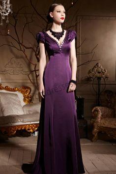 Purple V-neck Cap Sleeve Tie Back Prom Dress S652