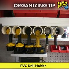 Tired of losing your drills or power tools in the garage? PVC pipes can solve that problem! For National Organize your home day, here's a great life hack for organizing your tools!