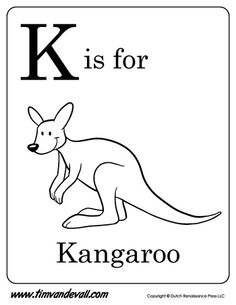 Print A Free K Is For Kangaroo Coloring Page Your Preschoolers Include This Printable In Classroom Lessons And Homeschooling Activities