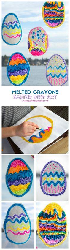 Melted Crayon Easter Egg Art - Craft for Kids