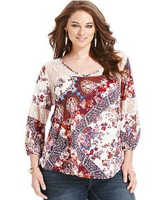 Eyeshadow Plus Size Top, Three-Quarter-Sleeve Floral-Print Crochet - Plus Size Tops - Plus Sizes - Macy's
