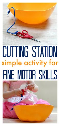 Motor Skills - DIY Cutting Station Cutting station - work on scissor skills and fine motor skills. Perfect way to contain the mess too!Cutting station - work on scissor skills and fine motor skills. Perfect way to contain the mess too! Preschool Classroom, Preschool Learning, Early Learning, Classroom Activities, Preschool Activities, Kids Learning, Cutting Activities, Preschool Cutting Practice, Dementia Activities