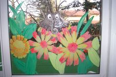 Insects theme window painting