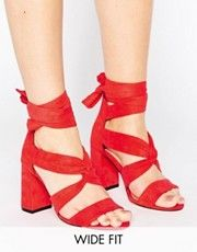 Lost Ink Wide Fit Red Knot Tie Up Heeled Sandals