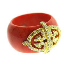 Henry Dunay Beautiful Coral and Diamond Ring