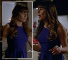 Rachel Berry's blue peplum top and black leather skirt on Glee.  Outfit Details: http://wornontv.net/10558/