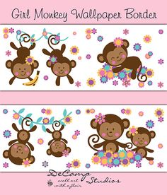 Girl monkey wallpaper border wall art decals for baby girl nursery or children's jungle room decor #decampstudios