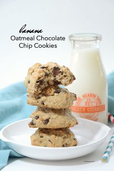 Recipes | Looking for a delicious Banana Cookies Recipe? These Banana Oatmeal Chocolate Chip Cookies are so tasty and are a great way to use your overripe bananas.