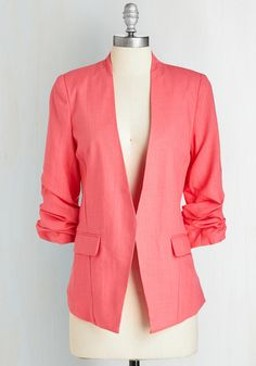 Speed Networking Blazer - Pink, Solid, Pockets, Work, 3/4 Sleeve, Spring, Summer, Woven, Good, Collared, Mid-length, 1, Ruching, Neon, Scholastic/Collegiate