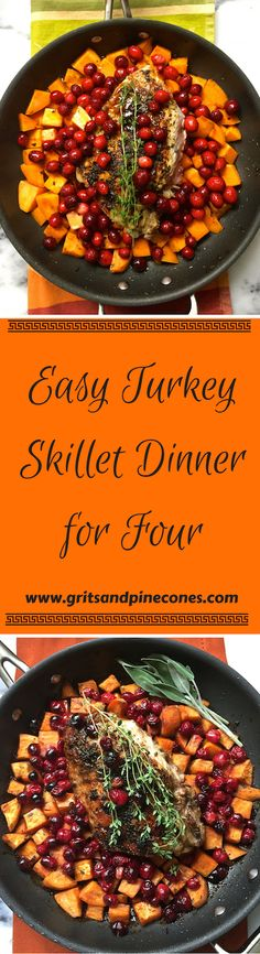 Easy Turkey Skillet Dinner for Four is the answer to your Thanksgiving prayers! It's an amazing, delicious Thanksgiving dinner that cooks in one pan! Thanksgiving Dinner Prayer, Thanksgiving Dinner Recipes, Paleo Dinner, Thanksgiving Leftovers, Turkey Recipes, Fall Recipes, Holiday Recipes, Chicken Recipes, Easy Healthy Recipes