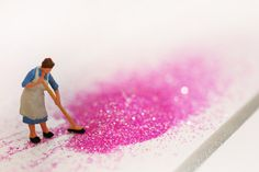 A Woman's Work- cleaning up pink glitter :)