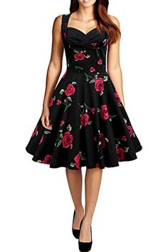 Hepburn style vintage O-neck sleeveless print ball gown dress women prom cocktail casual retro dress Alternative Measures - Brides & Bridesmaids - Wedding, Bridal, Prom, Formal Gown Pin Up Dresses, Ball Gown Dresses, 50s Dresses, Vintage Dresses, Vintage Outfits, Short Dresses, Fashion Dresses, Vintage Fashion, Summer Dresses