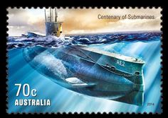 Australia's first submarines, E-class vessels known as HMAS and HMAS were commissioned into the Royal Australian Navy in February 1914 and arrived in Sydney on 24 May. The Centenary of Military Aviation & Submarines stamp release is available now BFD Royal Australian Navy, Cabin Cruiser, Postage Stamp Art, Centenario, Catamaran, Coast Guard, Battleship, Stamp Collecting, Military History