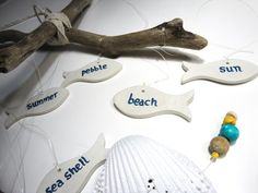 Summer words mobile - by Summer Beach, Summer Fun, Summer Words, Pretty Swimsuits, Hanging Mobile, Pebble Beach, Mobiles, Sea Shells, Summertime