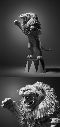 Receipt Lion :::  A 2ft lion sculpture made from shredded hotel expense receipts.