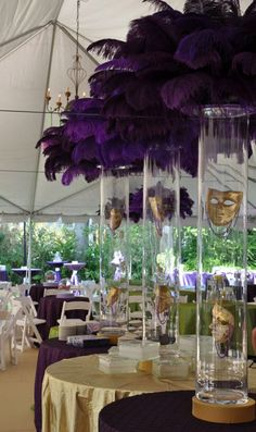 You Are Going To Love These Amazing Mardi Gras Centerpieces! They Are Filled With Feathers Masks And Beads! Such An Inspiring Look.