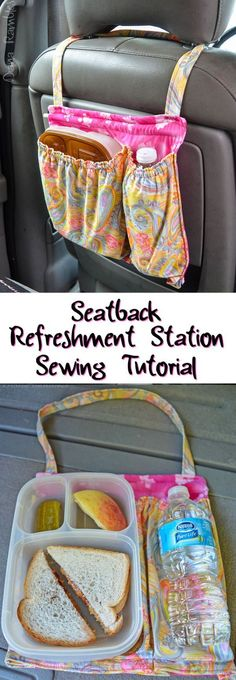 Seatback Refreshment Station Sewing Tutorial for Easy Lunchboxes AD - Great to keep the car clean and organized and snacks at your kids' fingertips!