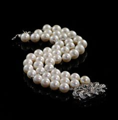 Pearl and Diamond three strand bracelet