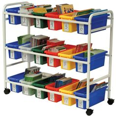 homeschool workboxes> i love the cart.... maybe for my math center?~e