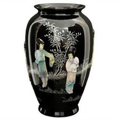 """Oriental Furniture 12"""""""" Tung Chi Vase (280 RON) ❤ liked on Polyvore featuring home, home decor, vases, colored vases, asian inspired home decor, black urns, onyx vase and handmade vase"""
